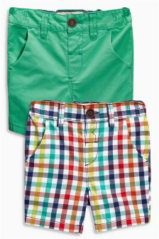 Green/Gingham Check Shorts Two Pack (3mths-6yrs)