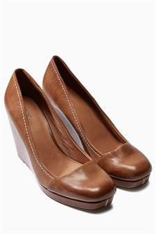 Square Toe Contrast Stitch Wedges
