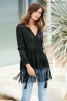 Black French Connection Lola Lace Fringed Top