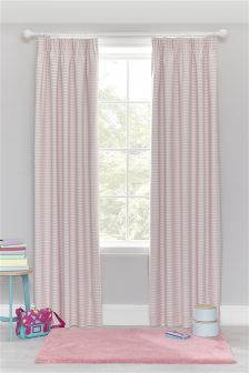 Pink Stripe Cotton Rich Blackout Pencil Pleat Curtains