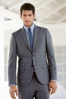 Light Blue Check Slim Fit Suit Trousers