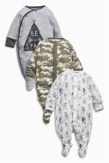 Three Pack Green Camo Print Sleepsuits (0mths-2yrs)