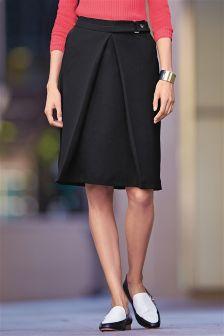 Black Compact A-Line Skirt