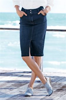 Dark Blue High Waist Enhancer Denim Skirt