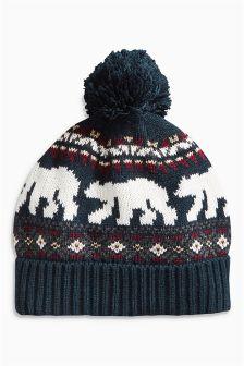 Blue Polar Bear Bobble Beanie Hat