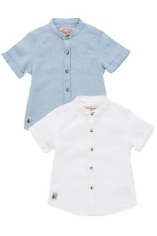 Blue/White Linen Blend Grandad Shirts Two Pack (3mths-6yrs)
