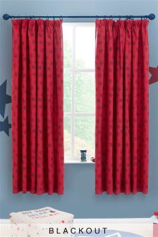 Red Star Cotton Rich Printed Black Out Pencil Pleat Curtains
