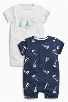 Navy/Grey Boat Romper Two Pack (0mths-2yrs)