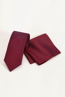 Signature Red Tie And Pocket Square