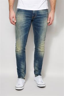 Vintage Washed Jeans With Stretch