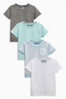 Blue Short Sleeve Plain T-Shirts Four Pack (3mths-6yrs)