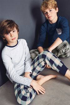 Blue/Grey Check Pyjamas Two Pack (3-16yrs)
