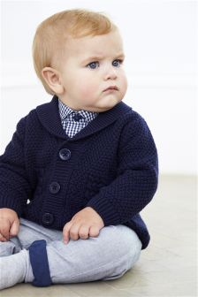 Navy Shawl Collar Cardigan (0mths-2yrs)
