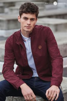 Burgundy Pretty Green Classic Harrington Jacket