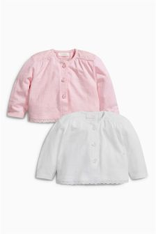 White/Pink Jersey Cardigan Two Pack (0mths-2yrs)