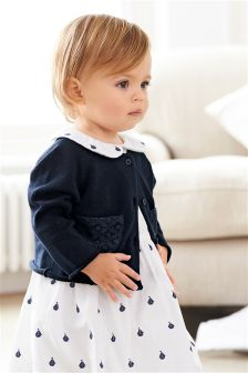 Navy Broderie Trim Cardigan (0mths-2yrs)