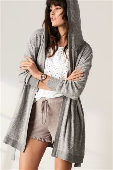 Grey Supersoft Hooded Cardigan