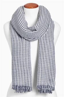 Chambray/White Midweight Striped Scarf