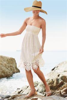 Oatmeal Stripe Pull-On Dress