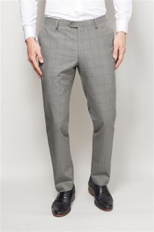Light Grey Cotton Check Slim Fit Suit Trousers
