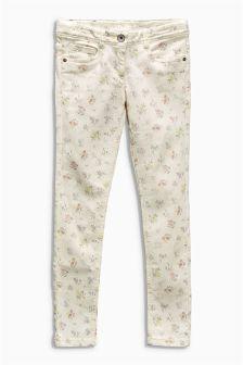 Ecru Printed Skinny Jeans (3-16yrs)