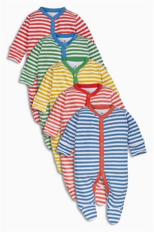 Multi Stripe Sleepsuits Five Pack (0mths-2yrs)