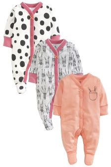 Three Pack Nordic Bunny Sleepsuits (0-2yrs)