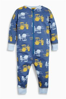 Navy/Ochre Tractor All Over Print Sleepsuit (9mths-8yrs)