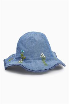 Denim Blue Embroidered Petal Hat (Younger Girls)