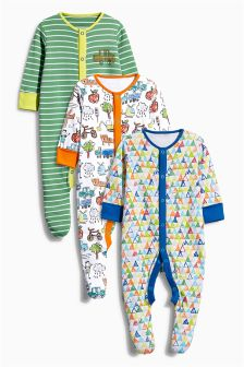 Three Pack Scribble All Over Print Sleepsuits (0-2yrs)