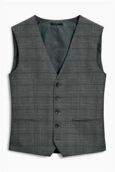 Grey Prince Of Wales Check Slim Fit Suit: Waistcoat