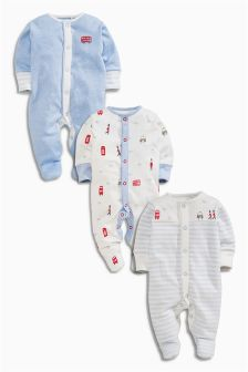 Pale Blue London Print Sleepsuits Three Pack (0mths-2yrs)