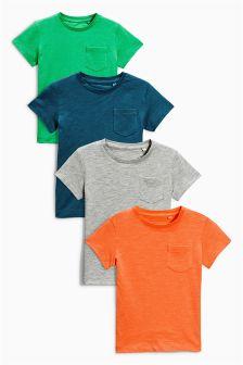Multi Short Sleeve Plain T-Shirts Four Pack (3mths-6yrs)