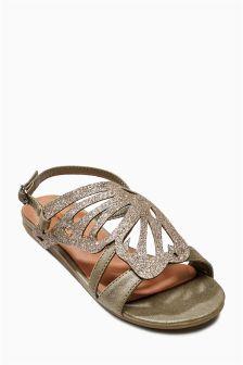 Khaki Butterfly Sandals (Older Girls)