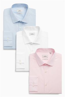 Three Pack Pink, Blue And White Shirts