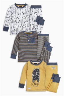 Ochre Bear Hug Pyjamas Three Pack (9mths-8yrs)