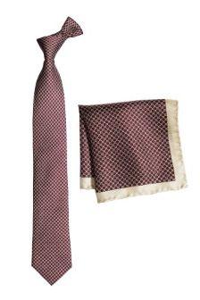 Signature Burgundy Printed Tie And Pocket Square
