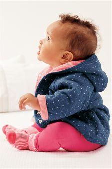 Indigo Spot/Pink Stripe Reversible Jacket (0mths-2yrs)