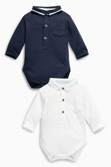 Navy/White Poloshirt Body Two Pack (0-18mths)