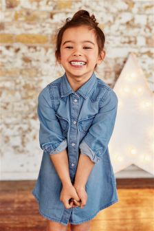 Denim Heart Shirt Dress (3mths-6yrs)