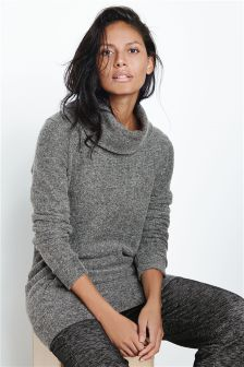 Grey Lounge Cowl Neck Sweater
