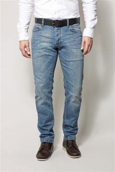 Blue Wash Belted Jeans With Stretch
