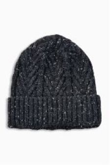 Charcoal Chevron Cable Beanie With Borg Lining