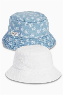 Blue/White Broderie And Printed Fisherman's Hats Two Pack (Younger Girls)