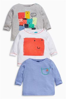 Multi Long Sleeve T-Shirts Three Pack (0mths-2yrs)