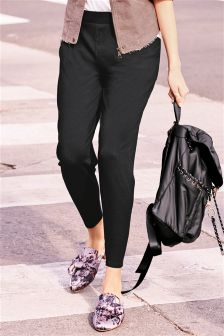 Black Tapered Leg Trousers