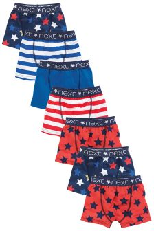 Red/Blue Star Stripe Trunks Seven Pack (2-16yrs)