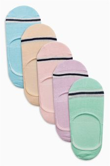 Pastel Invisible Trainer Socks Five Pack