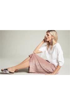 Pink Pleated Velvet Skirt