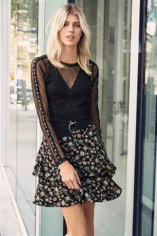 Black Floral Print Skirt